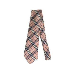 BURBERRYS Mens Pink Plaids Silk Necktie SOLD!